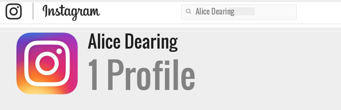 Alice Dearing instagram account