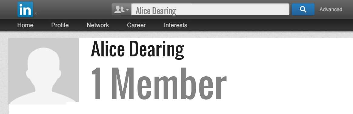 Alice Dearing linkedin profile