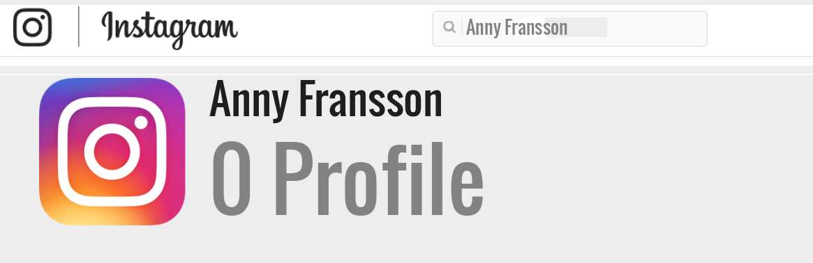 Anny Fransson instagram account