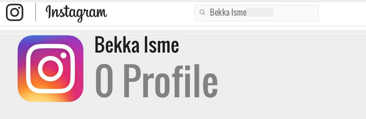 Bekka Isme instagram account