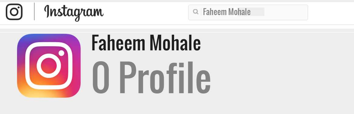 Faheem Mohale instagram account