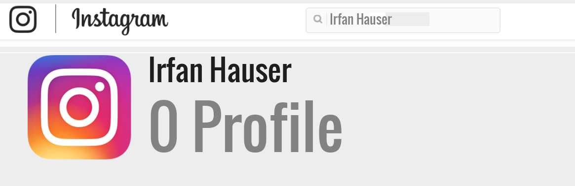 Irfan Hauser instagram account