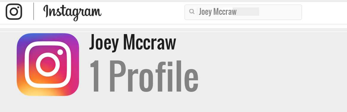 Joey Mccraw instagram account