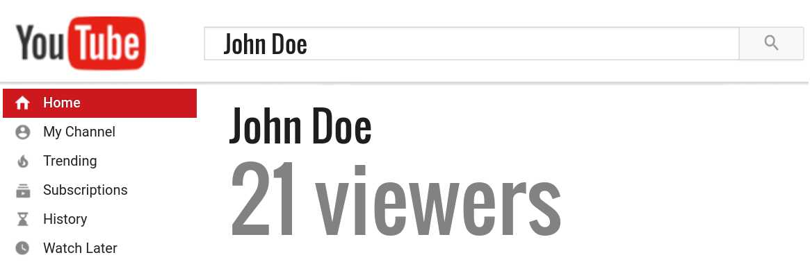 John Doe youtube subscribers
