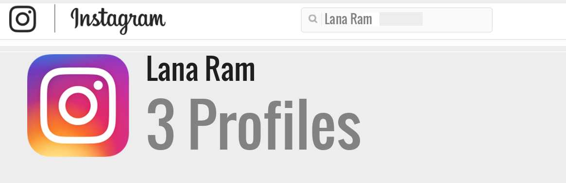 Lana Ram instagram account