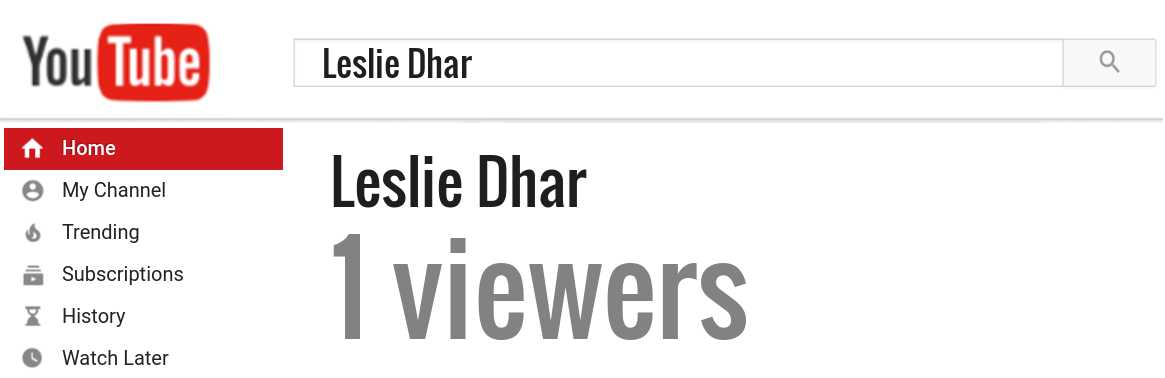 Leslie Dhar youtube subscribers