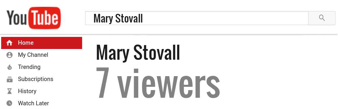 Mary Stovall youtube subscribers