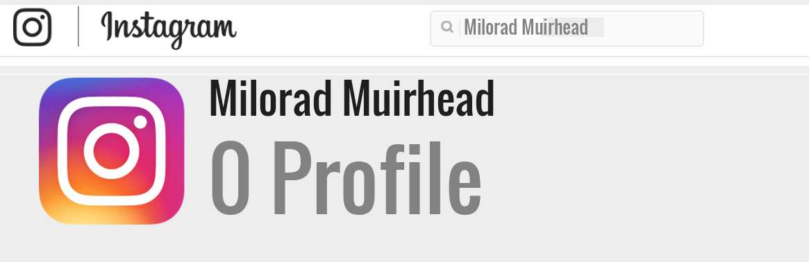 Milorad Muirhead instagram account