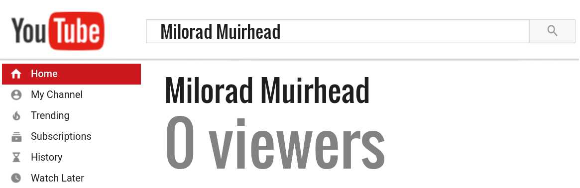 Milorad Muirhead youtube subscribers