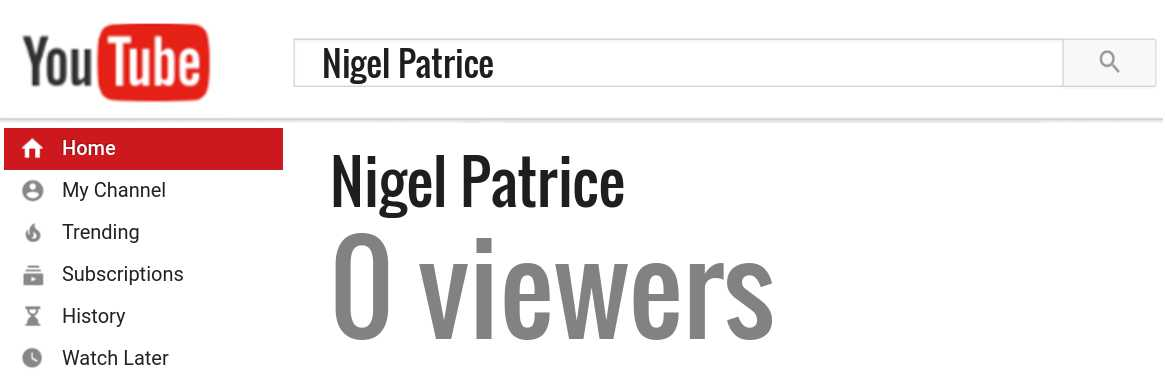 Nigel Patrice youtube subscribers