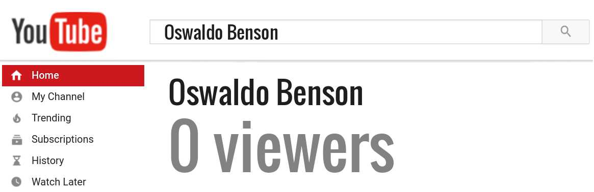 Oswaldo Benson youtube subscribers