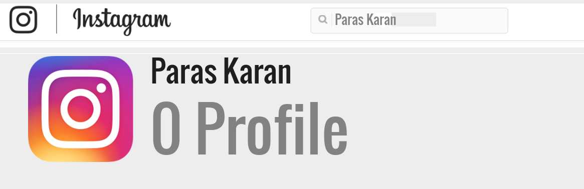 Paras Karan instagram account