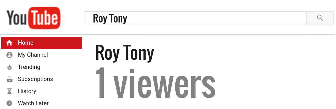 Roy Tony youtube subscribers