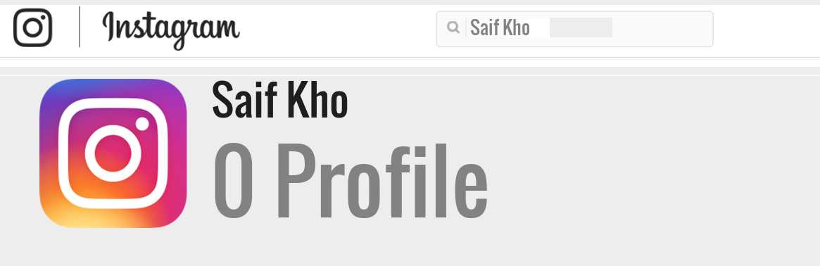 Saif Kho instagram account