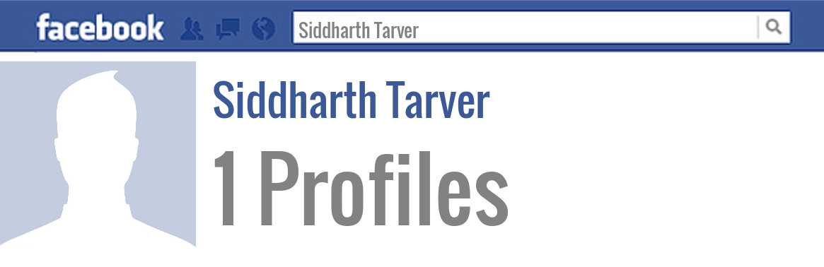 Siddharth Tarver facebook profiles
