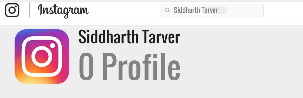 Siddharth Tarver instagram account