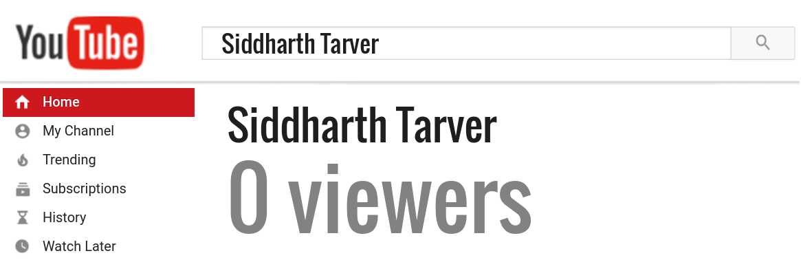 Siddharth Tarver youtube subscribers