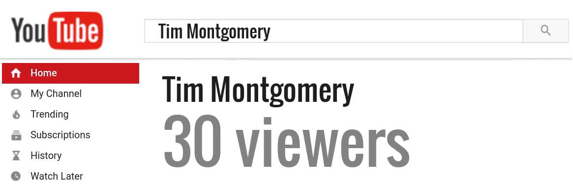 Tim Montgomery youtube subscribers