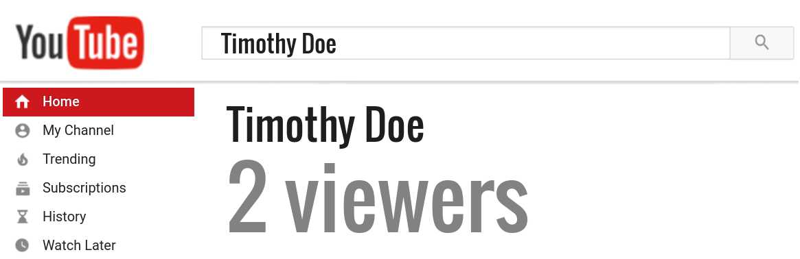 Timothy Doe youtube subscribers